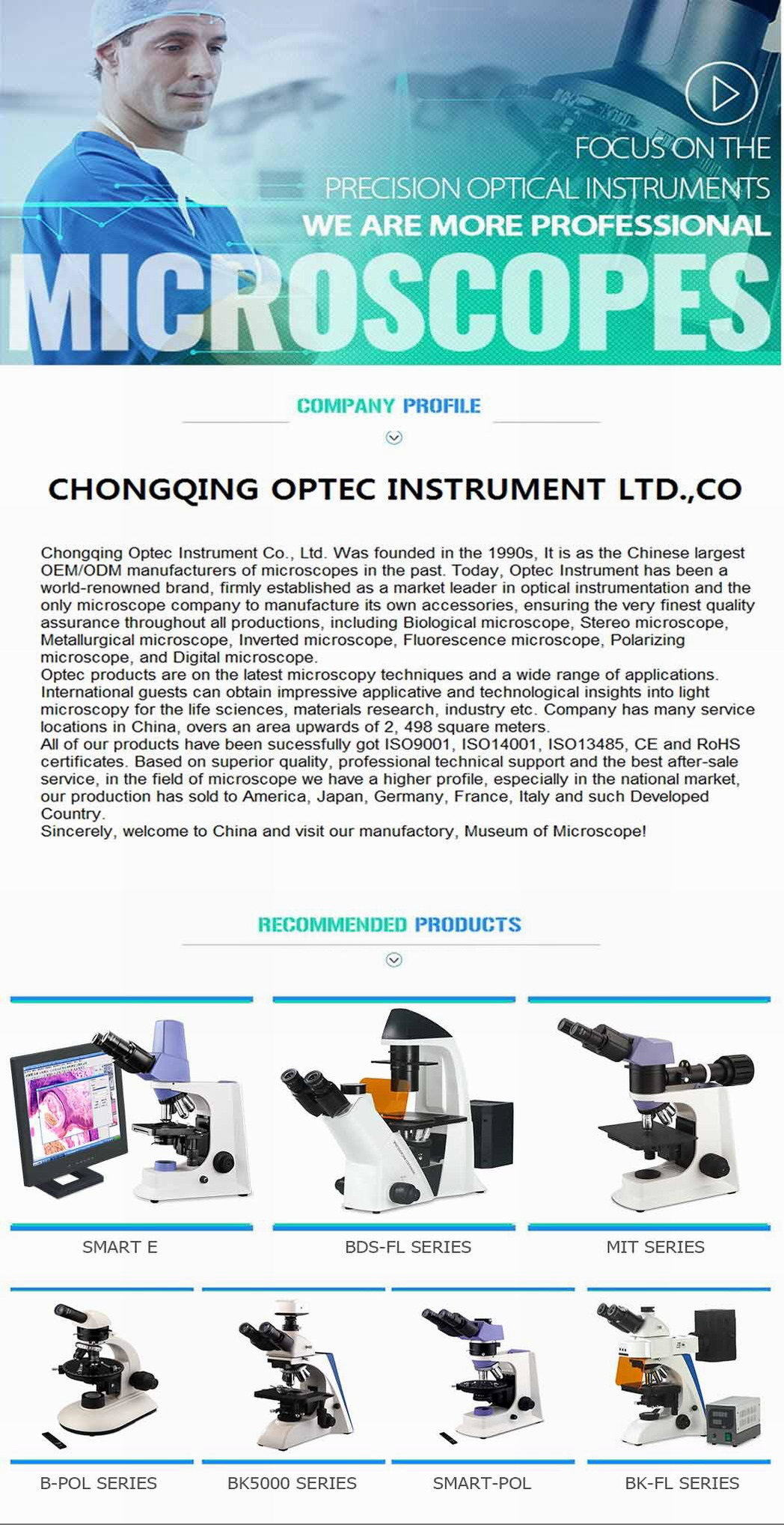 Lab Equipment a Level Biology Microscopes with High Resolution Camera