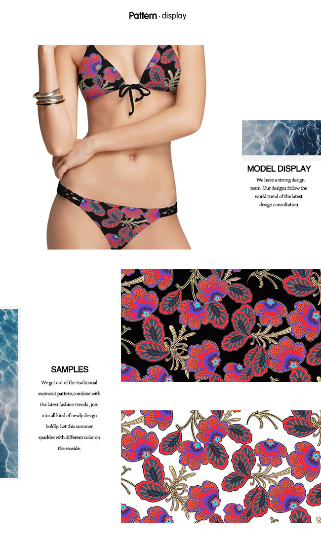 Polyester Spandex Flower Printed Knit Fabric for Swimwear and Dress