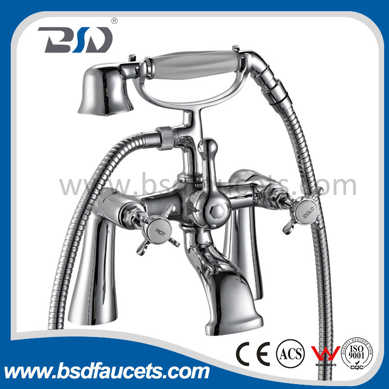 Longxi Manufacture High Price Luxury Gravity Casting Brass Pillar Mounted Bath Shower Faucets