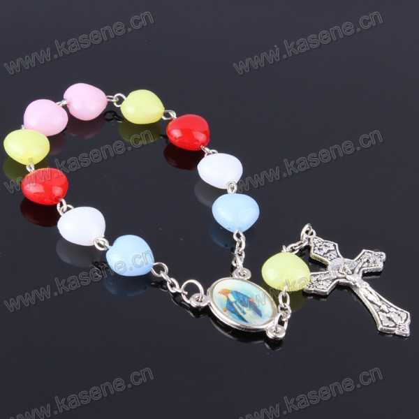 Christian Colorful Plastic Beads Saint Medal Rosary Bracelet