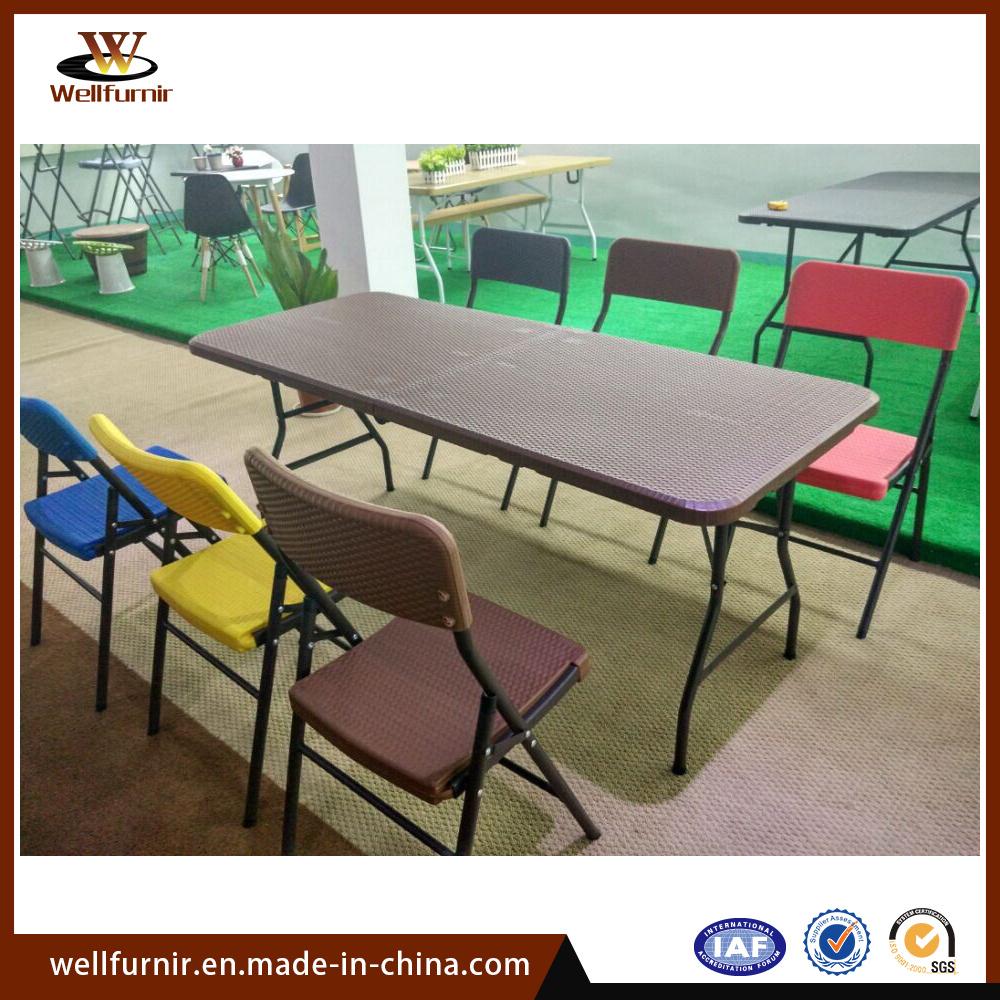 Cheap Children Wicker Pattern Plastic Dining Set Folding Chair Set (WF-15999)