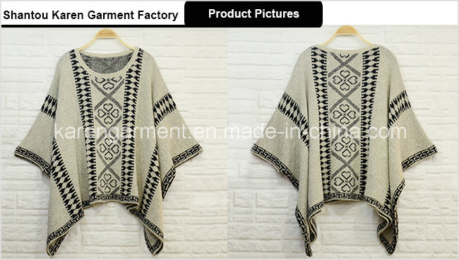 Women Knitted Aztec Poncho Sweater Winter Clothes