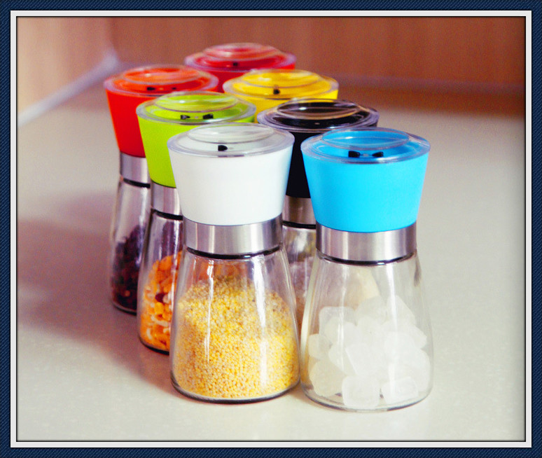 Manual Glass Material Kitchen Mill, Salt and Pepper Mill (R-6054)