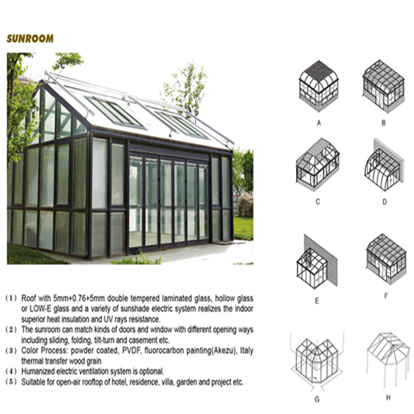 Feelingtop Thermal Break Aluminium Frame Double Glass Sunroom (FT-S)