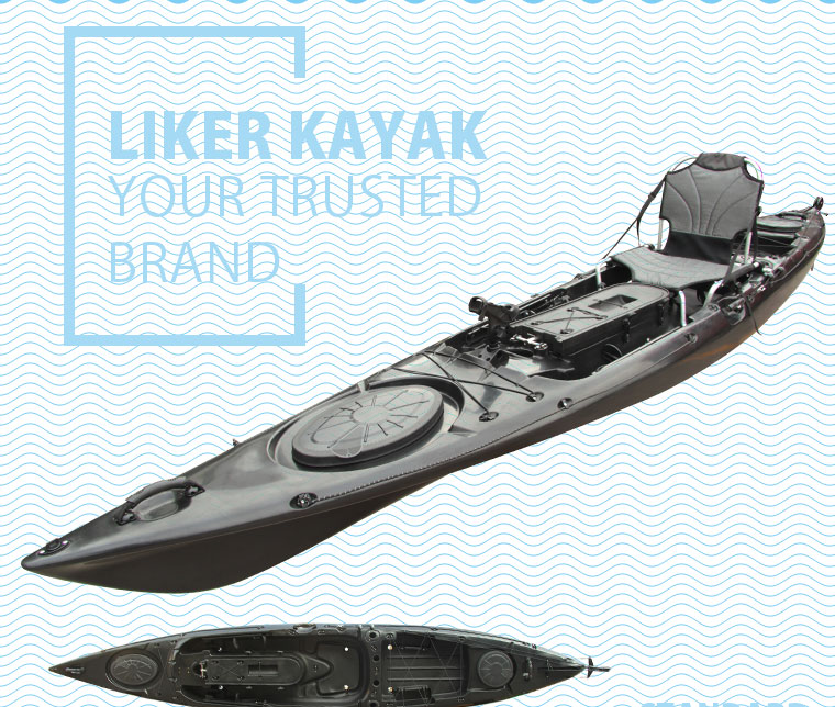 Hot Black Color PRO Pedal Kayak for Fishing and Angler Design by Liker