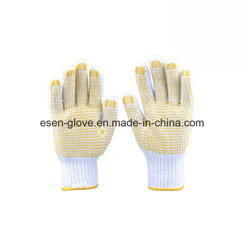 PVC Dotted Gloves, Points Cotton Gloves Plastic Anti-Skid Gloves Protective Gloves
