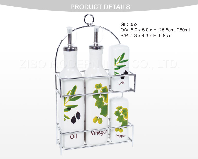 Ceramic Porcelain Bottle Set with Metal Rack