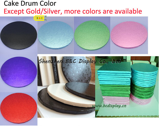 Round Corrugated Cake Boards with 6mm/9mm/12mm, Cake Boads with Foil Paper (B&C-K054)