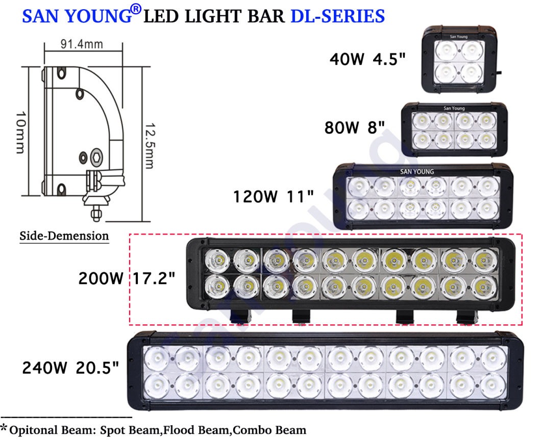 17inch 200W Dual Row LED Lightbar Offroad LED Light Bars