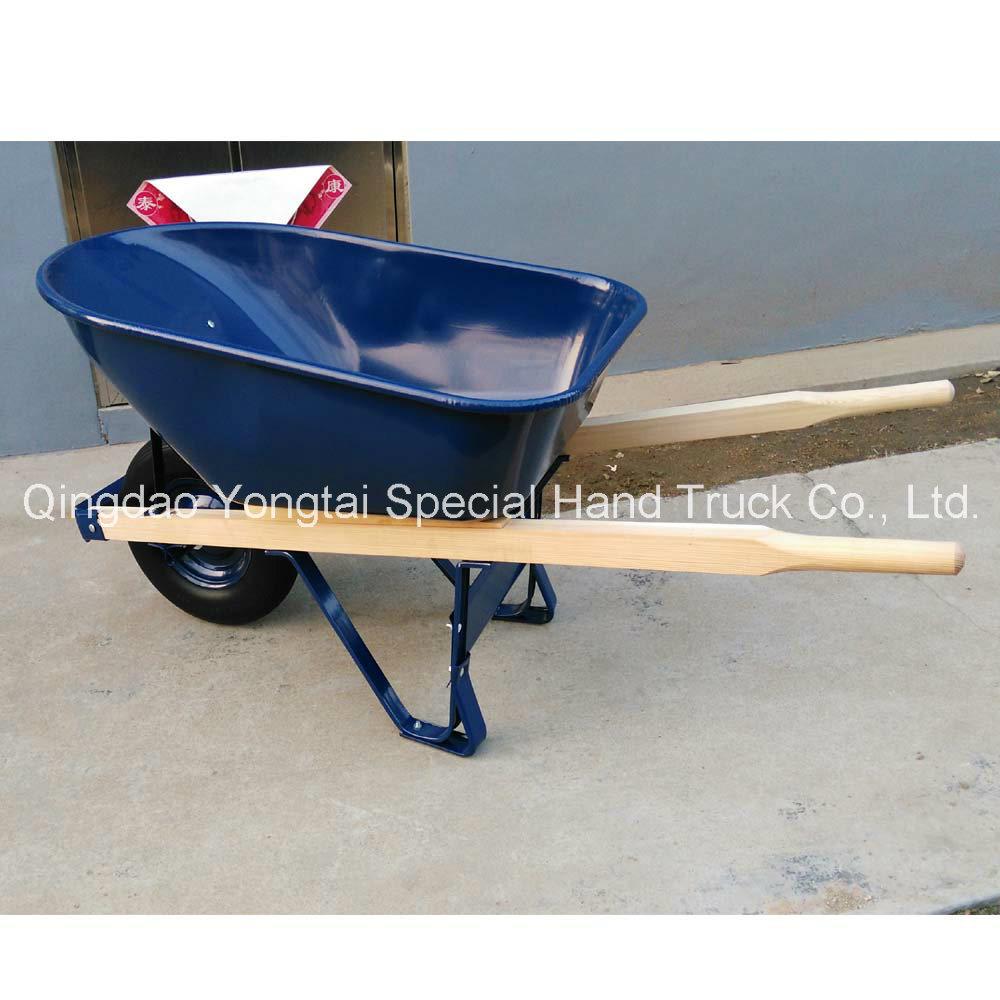 America 6cuft Metal Tray Wheelbarrow with Wooden Handles