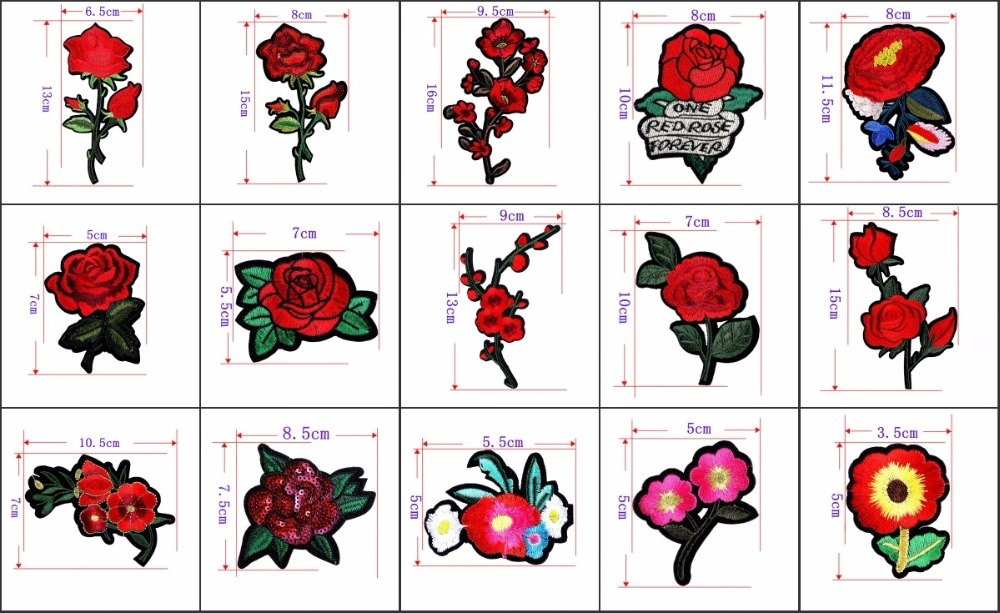Iron on/Sew on Custom Red Flower Embroidered Patches for Garment/Hat/Promotion