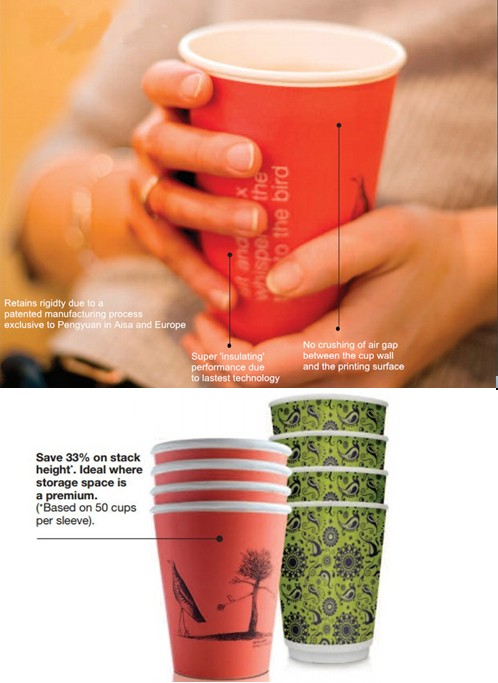 Biodegradable Double Wall Latte Tea Paper Cup