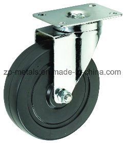 Biaxial Middle-Size Black Rubber Swivel Caster Wheels