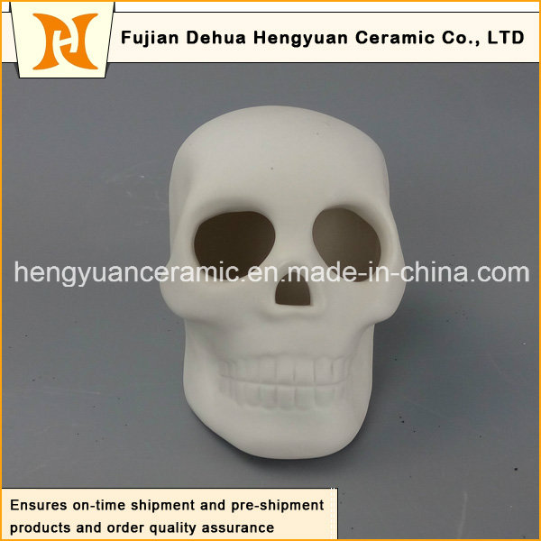 Ceramic White Skull Halloween Decoration