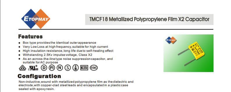 Topmay Metallized Polypropylene Film X2 Capacitor 275/ 280V AC
