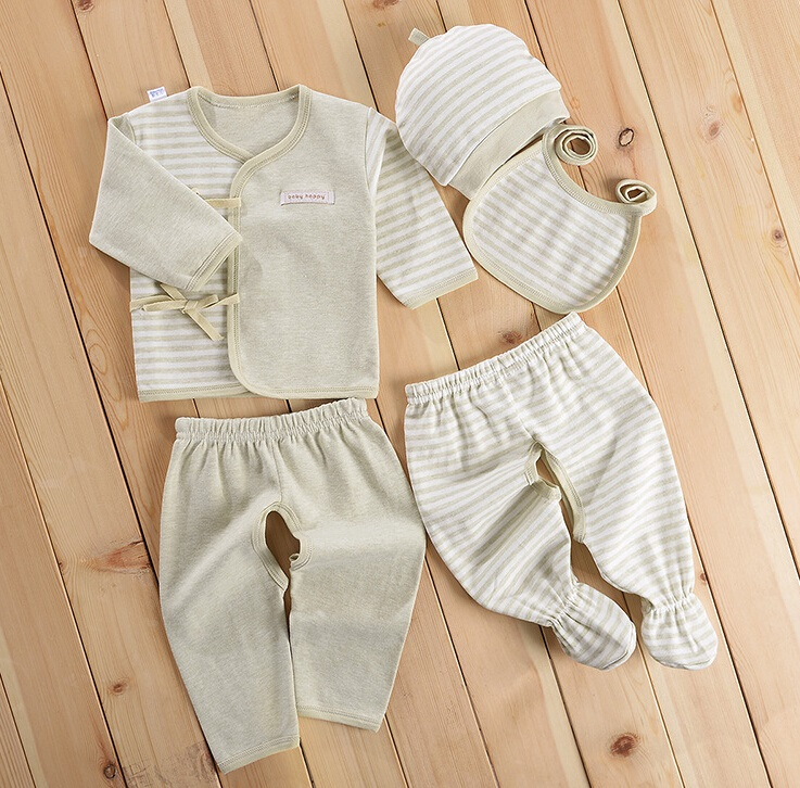 Colored Cotton Green Stripes Newborn Baby Inner Clothes 5PCS