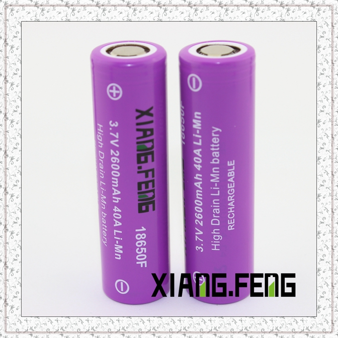 3.7V Xiangfeng 18650 2600mAh 40A Imr Rechargeable Lithium Battery E Cig Battery