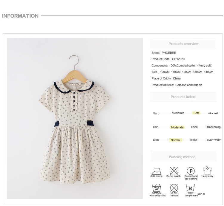 100% Cotton Kids Clothes Girls Dresses for Summer