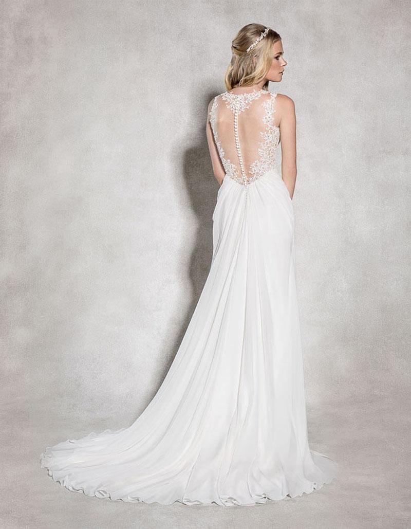 Romantic Flattering Chiffon Wedding Dress with Intricate Lace Illusion Back