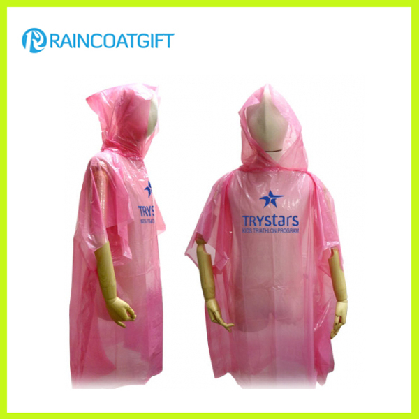 Disposable Pink PE Rain Poncho Rpe-002