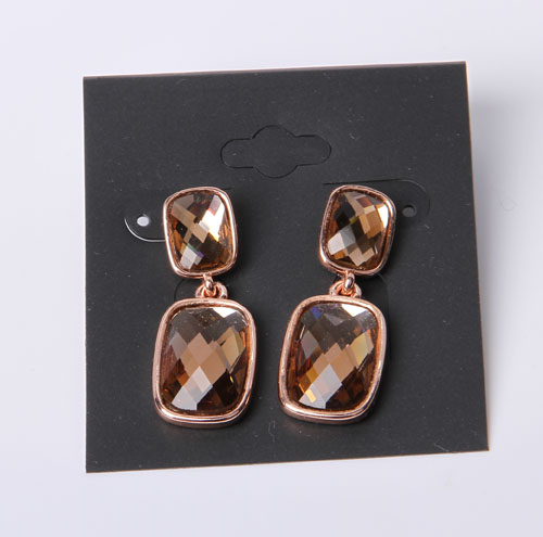 Open-Worked Circle Shape Simple Style Earring with Rhodium Plated