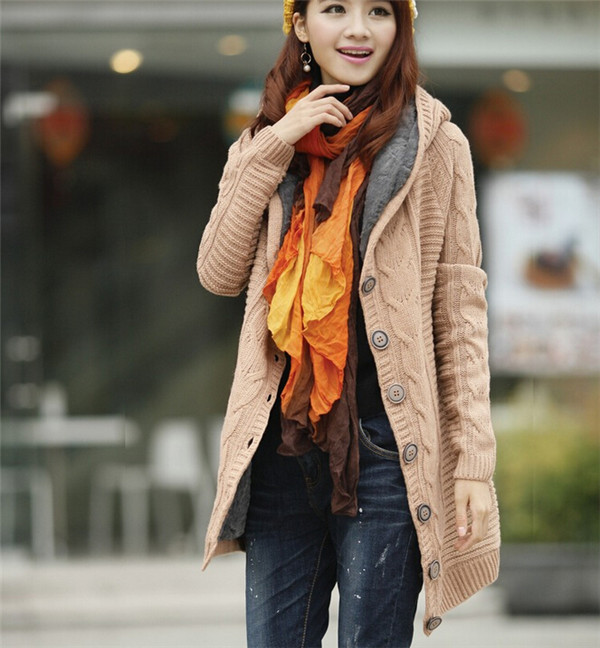 Winter Warmer Women Long Red Cardigan Knit Sweater Coat