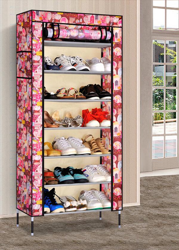 Simple Portable Corner Shoe Rack Portable Organizer Cabinet