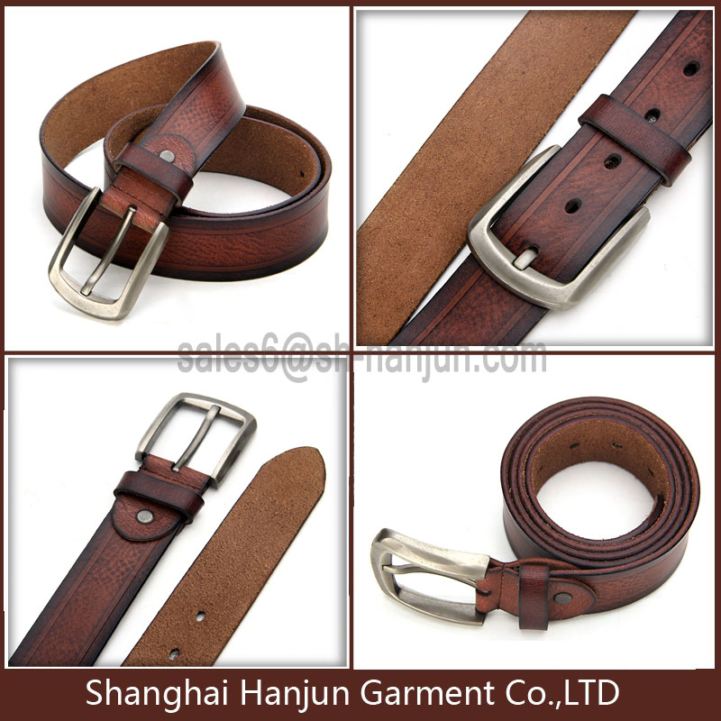 Pure Leather Men's Jeans Calf Leather Belt