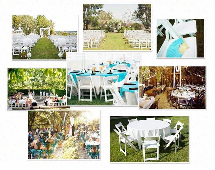 Factory Price Modern Resin Folding White Wedding Chair for Event Furniture
