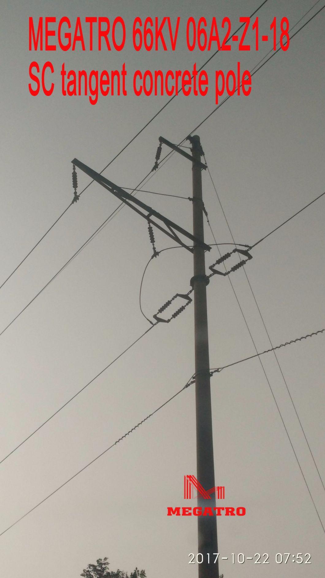 Megatro 66kv 06A2-Z1-18 Sc Tangent Concrete Pole