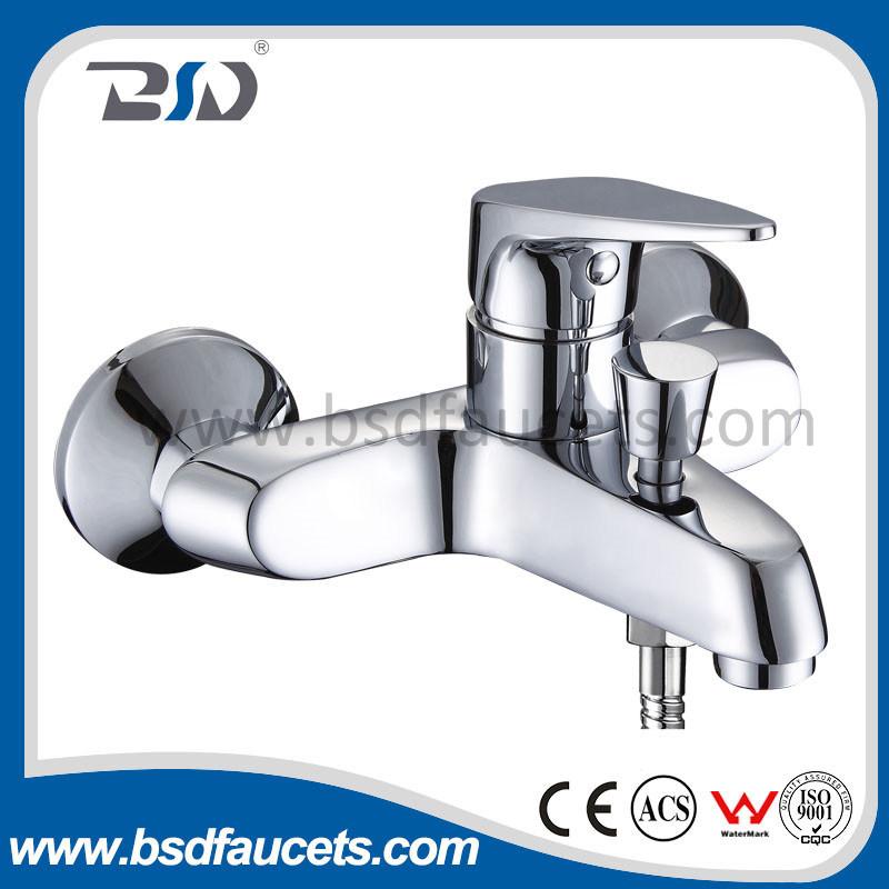 Polish Chrome Wall Mount Single Handle Bath Mixer Bathroom Faucet