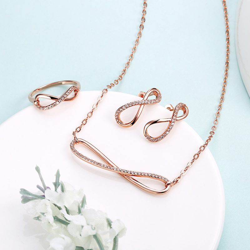 2017 Fashion Jewelry Sets Eight Shape Zircon Rose Gold Plated Design for Women