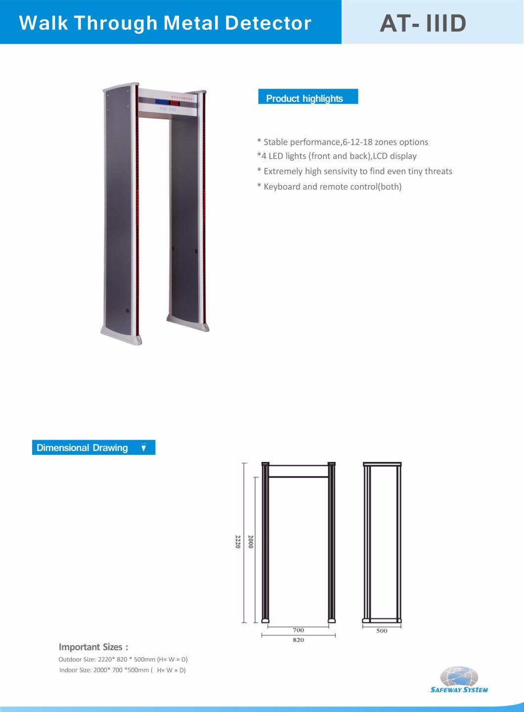 Walk Through Electronic Security Door Metal Detector - Safety Door
