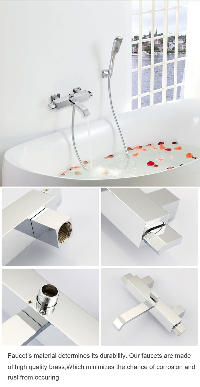 Wall Mount Chrome Bathroom Bathtub Mixer Tap Faucet