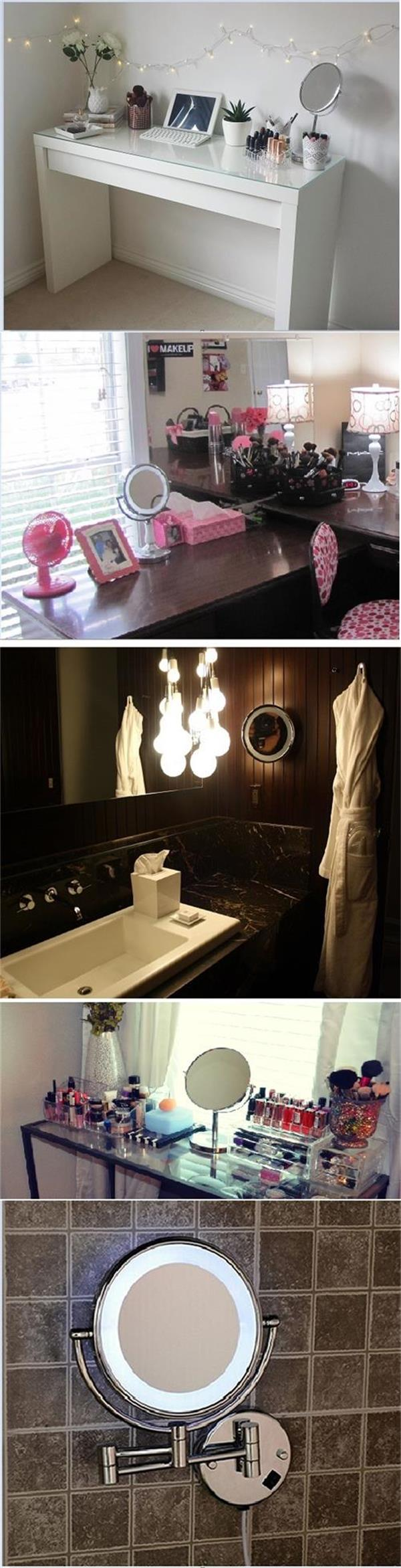 Wall Mounted Makeup cosmetic Mirror with LED Light Used in Bathroom