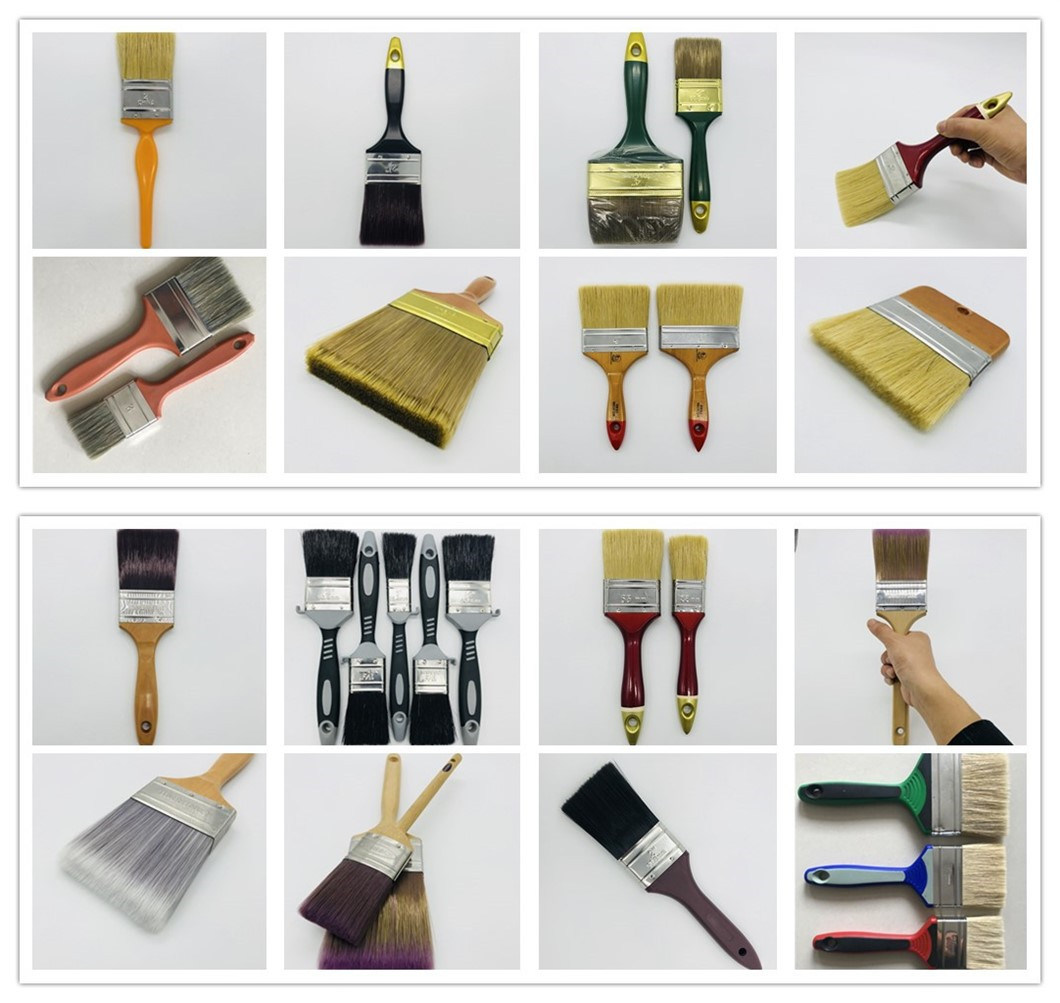 Wooden Handle Paint Brush Natural Boiled Bristle Paint Brush