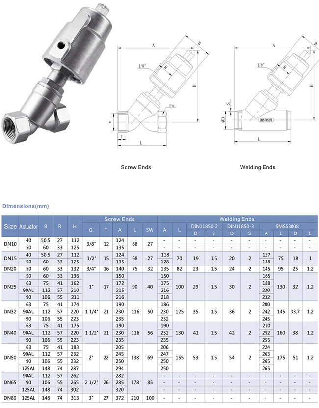 Y Type Stainless Steel 316 Pneumatic Piston Angle Seat Valve with Actuator