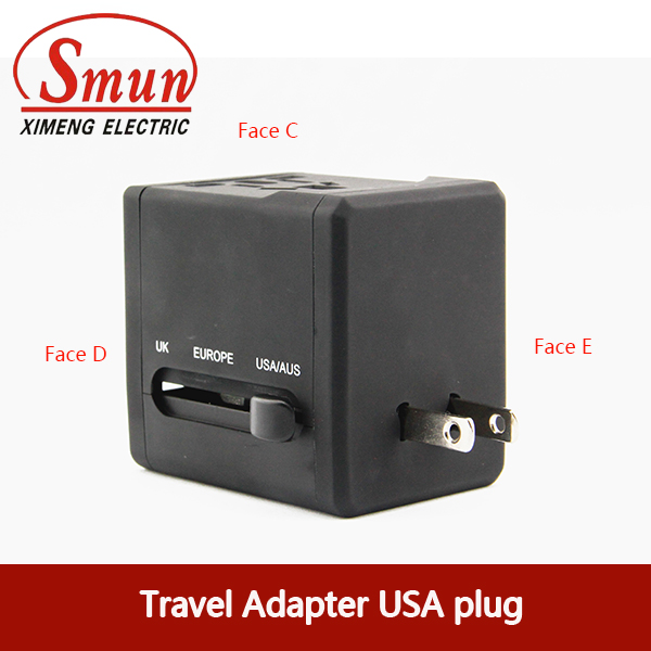 Universal Travel Plug Adapter with USB0.5A 2.1A CE RoHS 1 Year Warranty