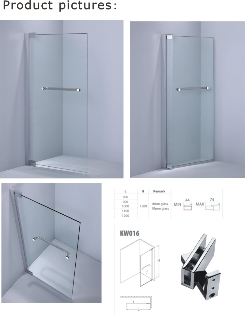 Reversible Designed of 8mm/10mm Tempered Glass Bathtub Screen (A-KW016)