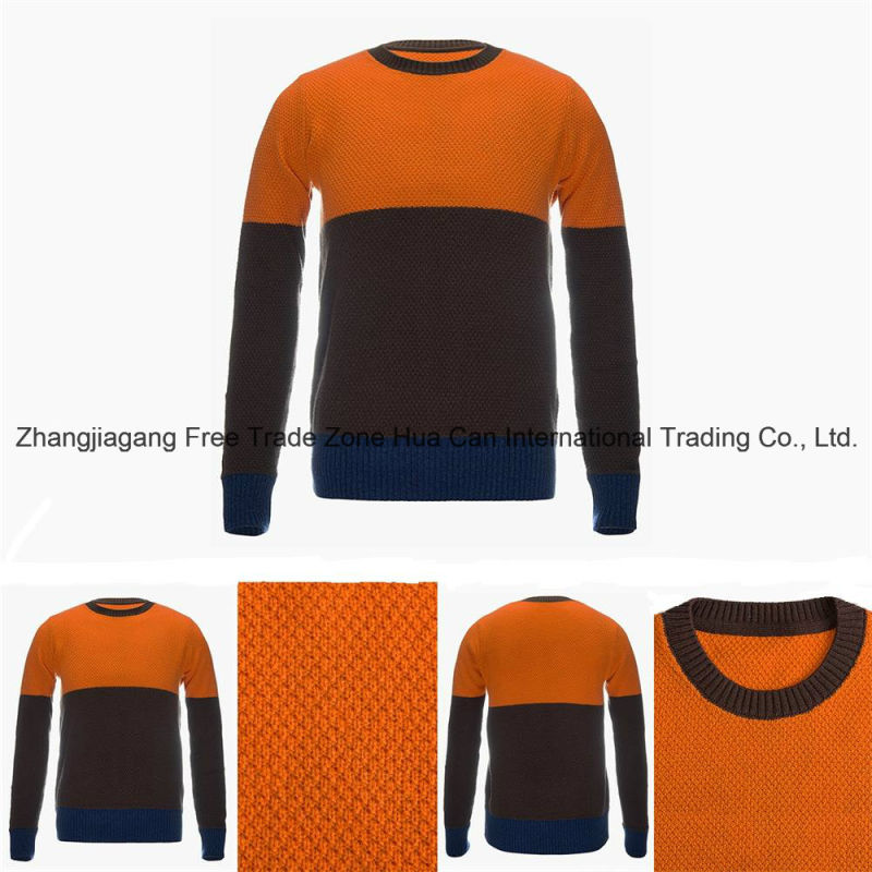 Men's Round Neck Color Combined 100% Top Grade Pure Cashmere Sweater