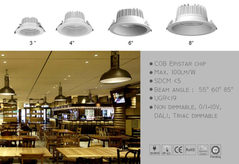 IP40 Dimmable Ugr<19 3/4/6/8 Inch COB Downlight LED Lamp of Die Cast Aluminium