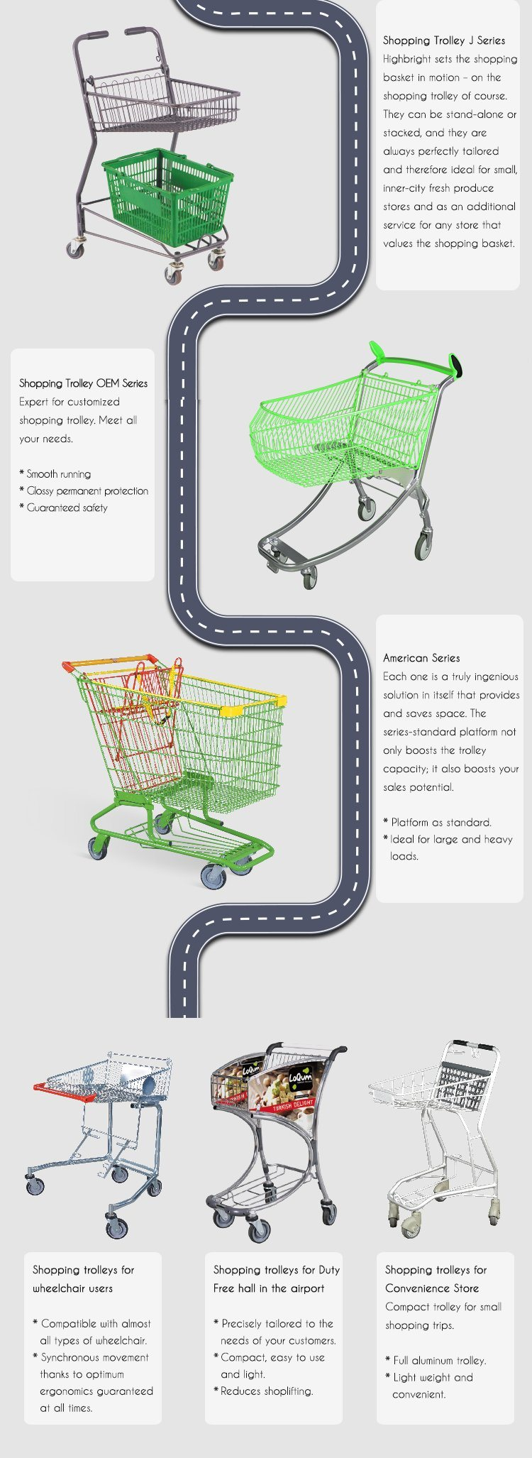 Plastic PP Basket Trolley Double Layer Shopping Cart