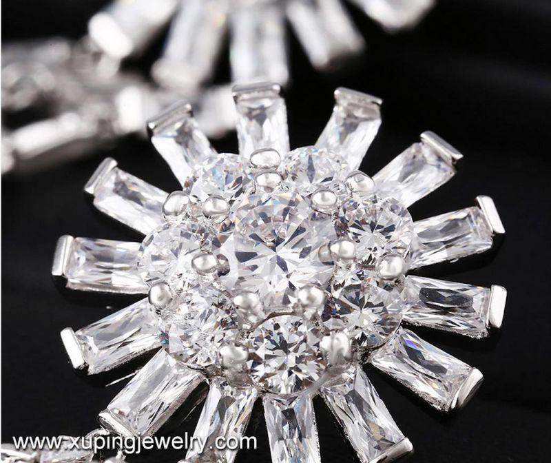 E-227 Fashion Luxury Cubic Zirconia Rhodium Jewelry Eardrop