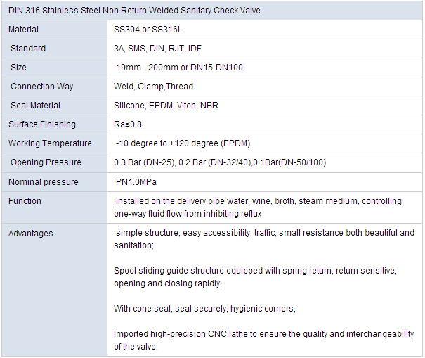 DIN 316 Stainless Steel Non Return Welded Sanitary Check Valve