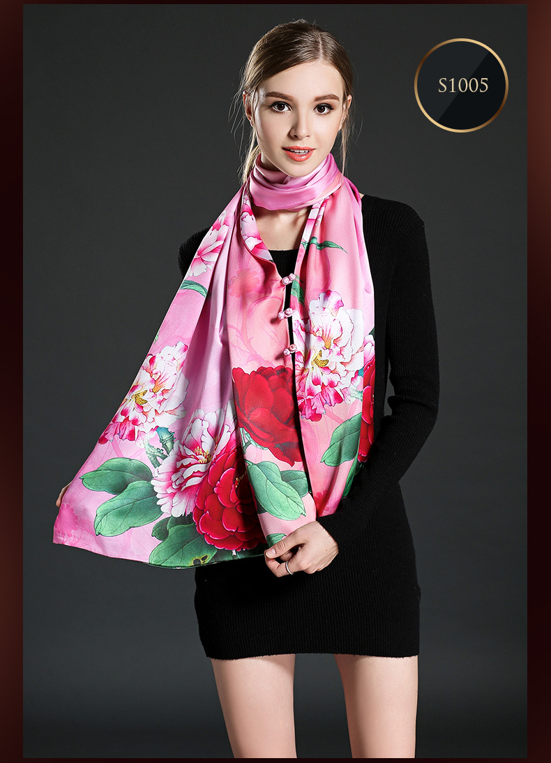 Pink Digital Printing Silk Scarf Shawl with Buttons