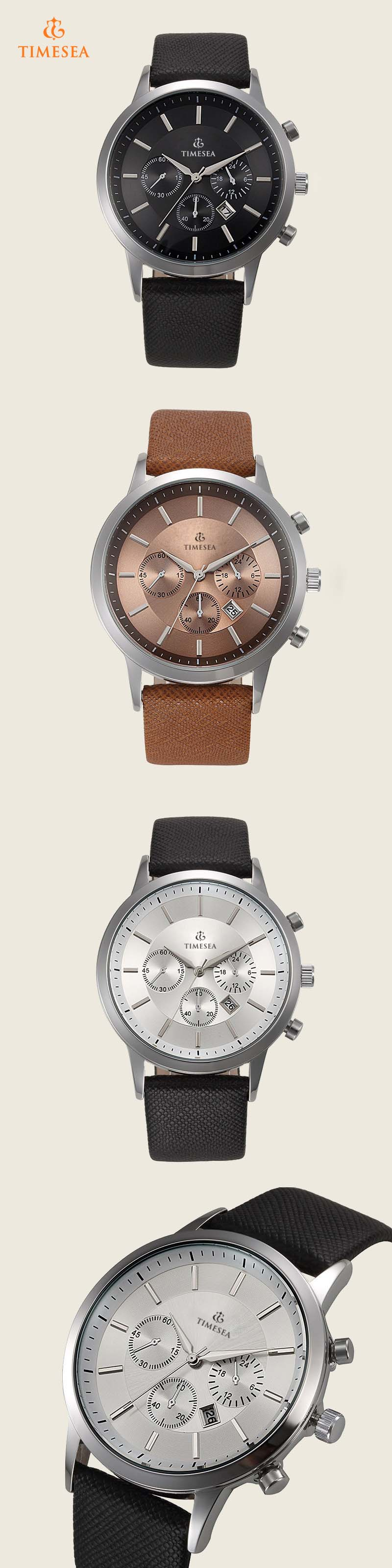 Men Wrist Quartz Watch Leather Strap Luxury Mens Watches 72267
