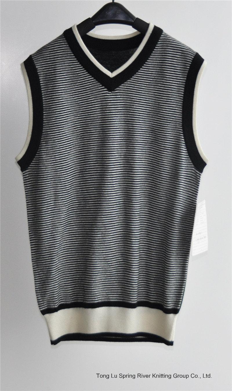 V-Neck Summer Striped Sleeveless Men Sweater
