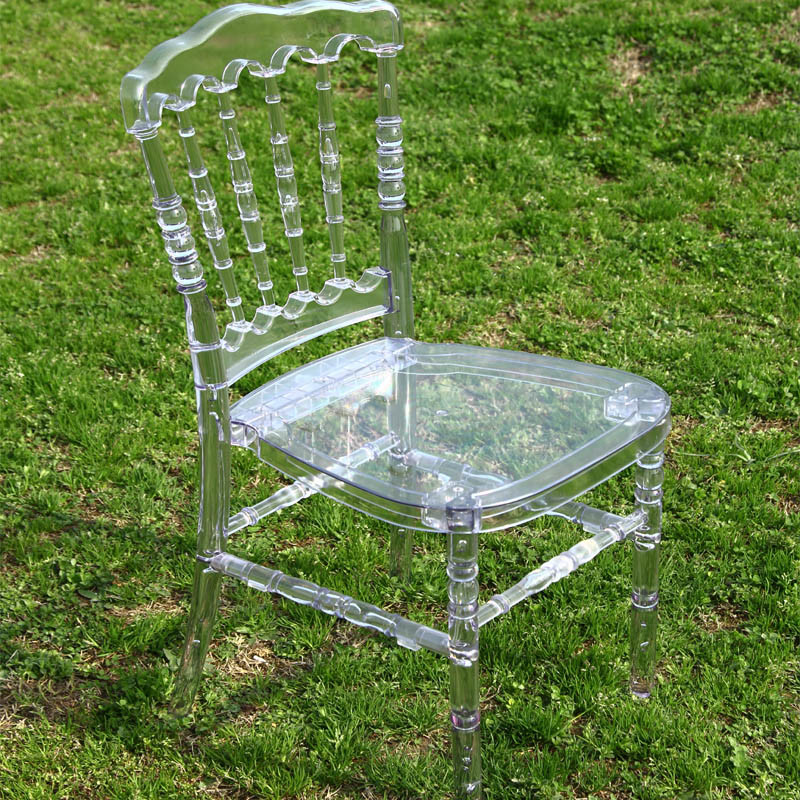 Clear Crystal Plastic Resin Napoleon Wedding Chair