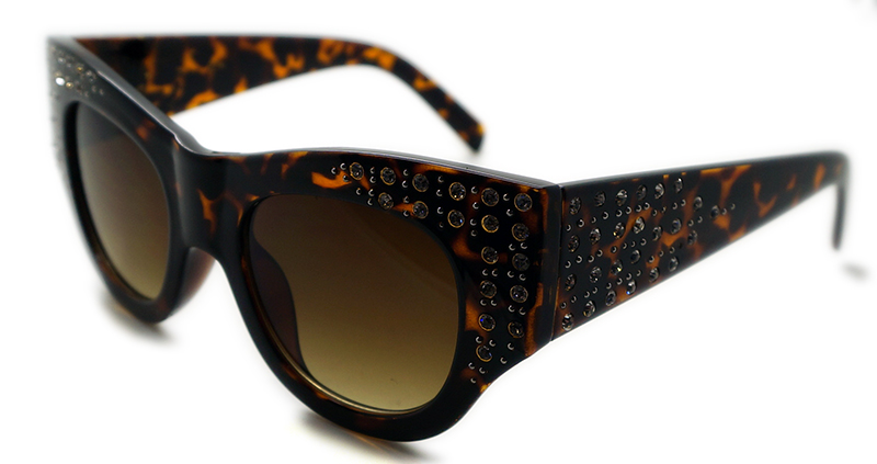 Plastic Ladies Special Shaped Sunglasses with Rhinestone (WSP508363)