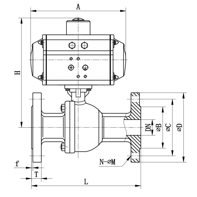 Stainless Steel Material Pneumatic Actuator Flange Ball Valve